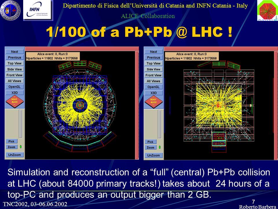 7 Roberto Barbera Dipartimento di Fisica dellUniversità di Catania and INFN Catania - Italy ALICE Collaboration 1/100 of a Pb+Pb @ LHC .