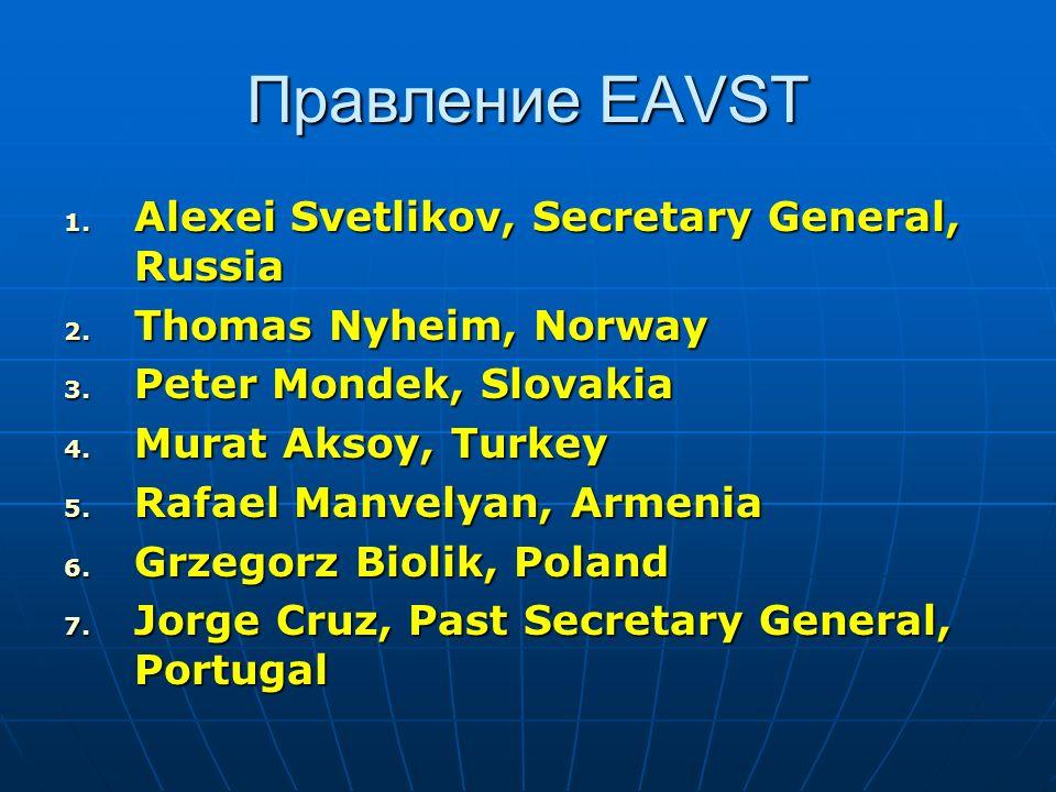Правление EAVST 1. Alexei Svetlikov, Secretary General, Russia 2. Thomas Nyheim, Norway 3. Peter Mondek, Slovakia 4. Murat Aksoy, Turkey 5. Rafael Man