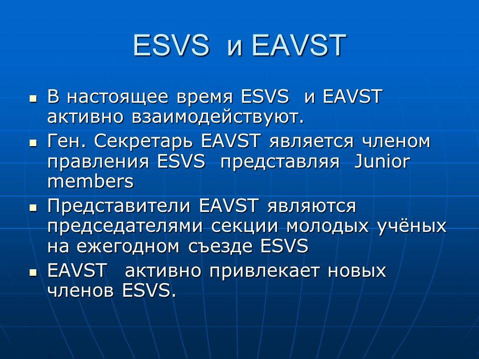 ESVS и EAVST В настоящее время ESVS и EAVST активно взаимодействуют. В настоящее время ESVS и EAVST активно взаимодействуют. Ген. Секретарь EAVST явля