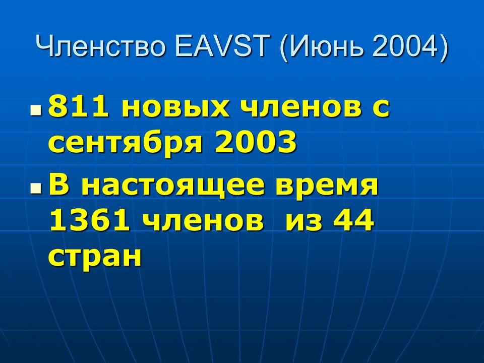 Членство EAVST (Июнь 2004) 811 новых членов с сентября 2003 811 новых членов с сентября 2003 В настоящее время 1361 членов из 44 стран В настоящее вре