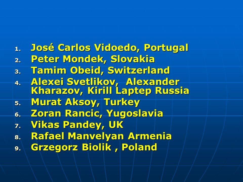 1. José Carlos Vidoedo, Portugal 2. Peter Mondek, Slovakia 3. Tamim Obeid, Switzerland 4. Alexei Svetlikov, Alexander Kharazov, Kirill Laptep Russia 5