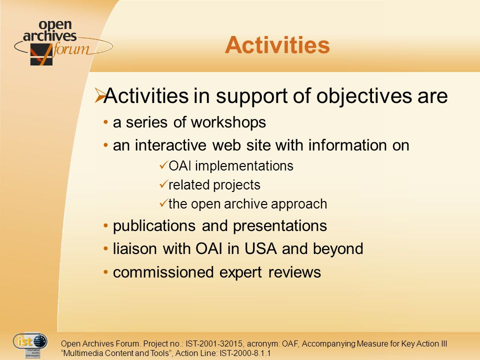 Open Archives Forum.