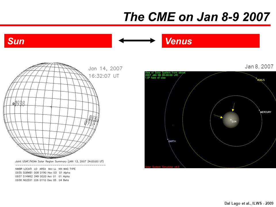 SunVenus Jan 8, 2007 The CME on Jan 8-9 2007 Dal Lago et al., ILWS - 2009