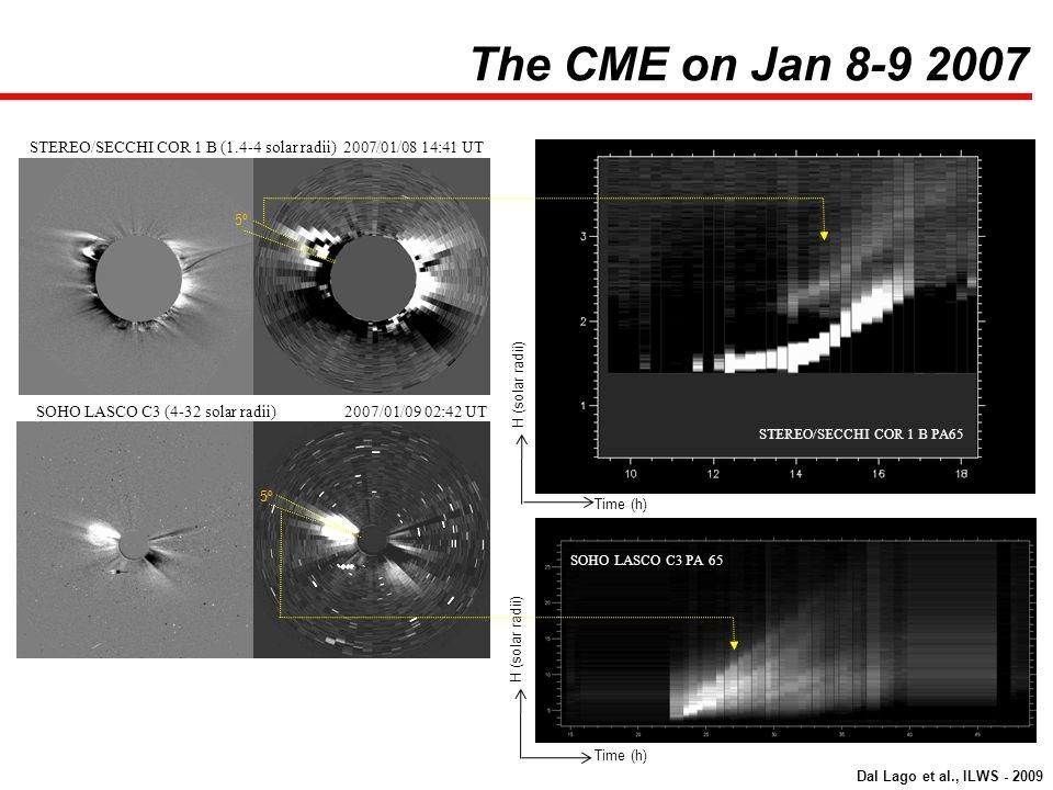 STEREO/SECCHI COR 1 B (1.4-4 solar radii) 2007/01/08 14:41 UT SOHO LASCO C3 (4-32 solar radii) 2007/01/09 02:42 UT STEREO/SECCHI COR 1 B PA65 SOHO LAS