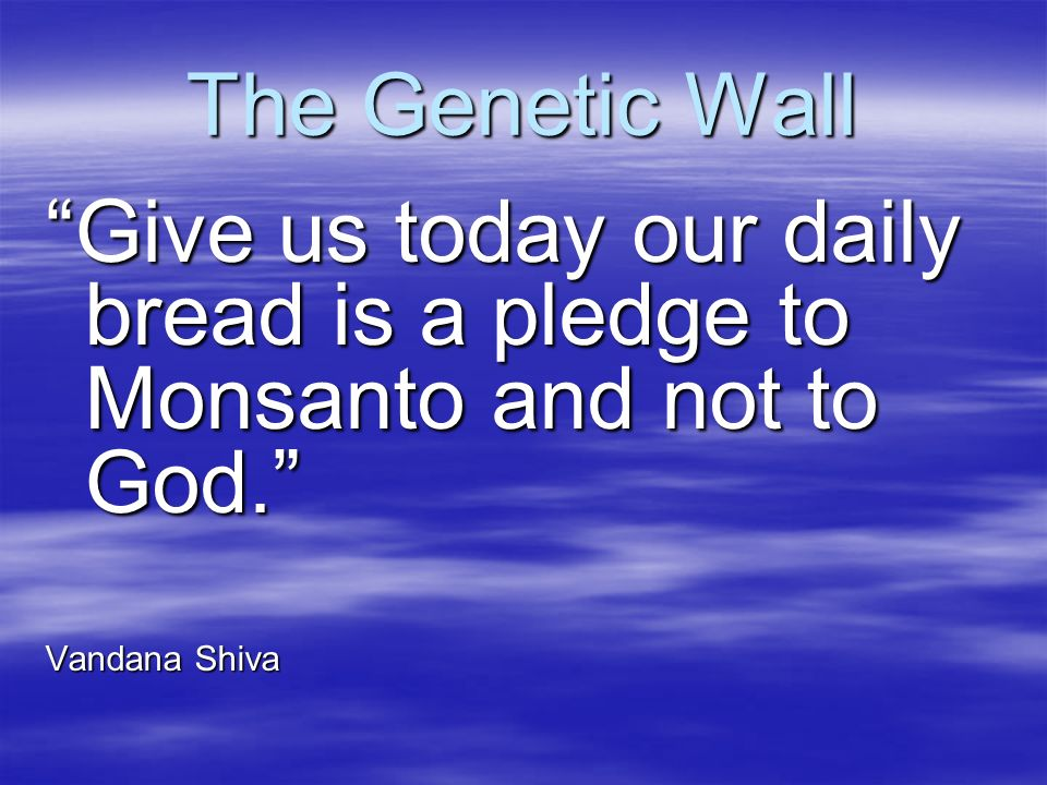 The Genetic Wall Give us today our daily bread is a pledge to Monsanto and not to God. Vandana Shiva