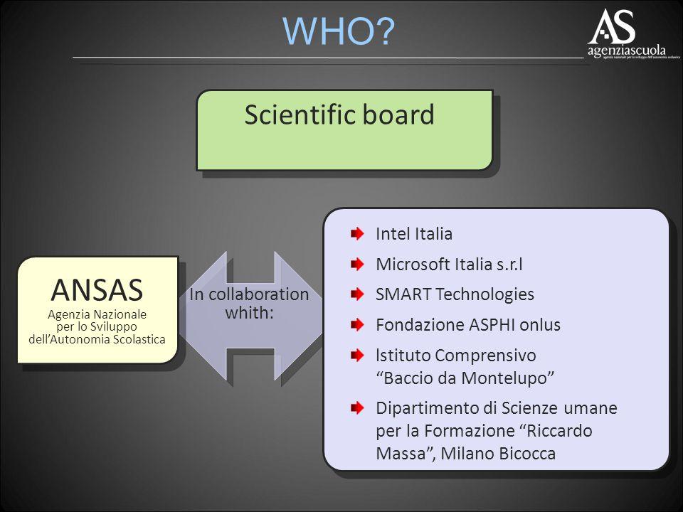 WHO? ANSAS Agenzia Nazionale per lo Sviluppo dellAutonomia Scolastica Intel Italia Microsoft Italia s.r.l SMART Technologies Fondazione ASPHI onlus ls