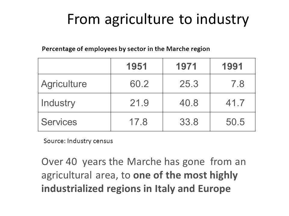 © Donato IacobucciUniversità Politecnica delle Marche From agriculture to industry 195119711991 Agriculture 60.2 25.3 7.8 Industry 21.9 40.8 41.7 Serv