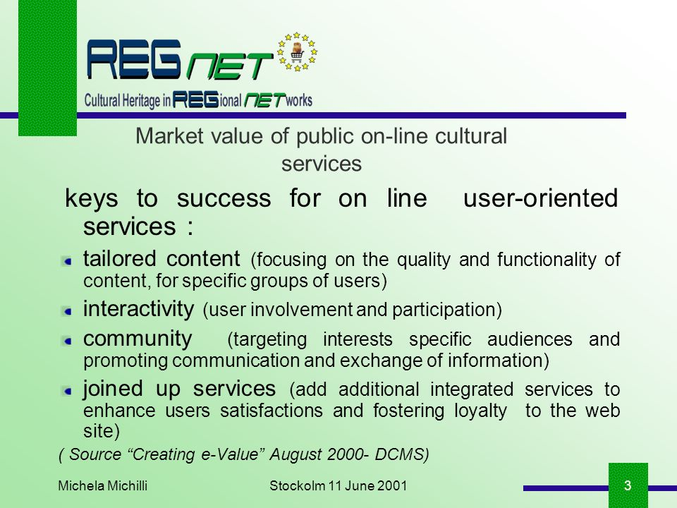 Michela MichilliStockolm 11 June 20013 Market value of public on-line cultural services keys to success for on line user-oriented services : tailored
