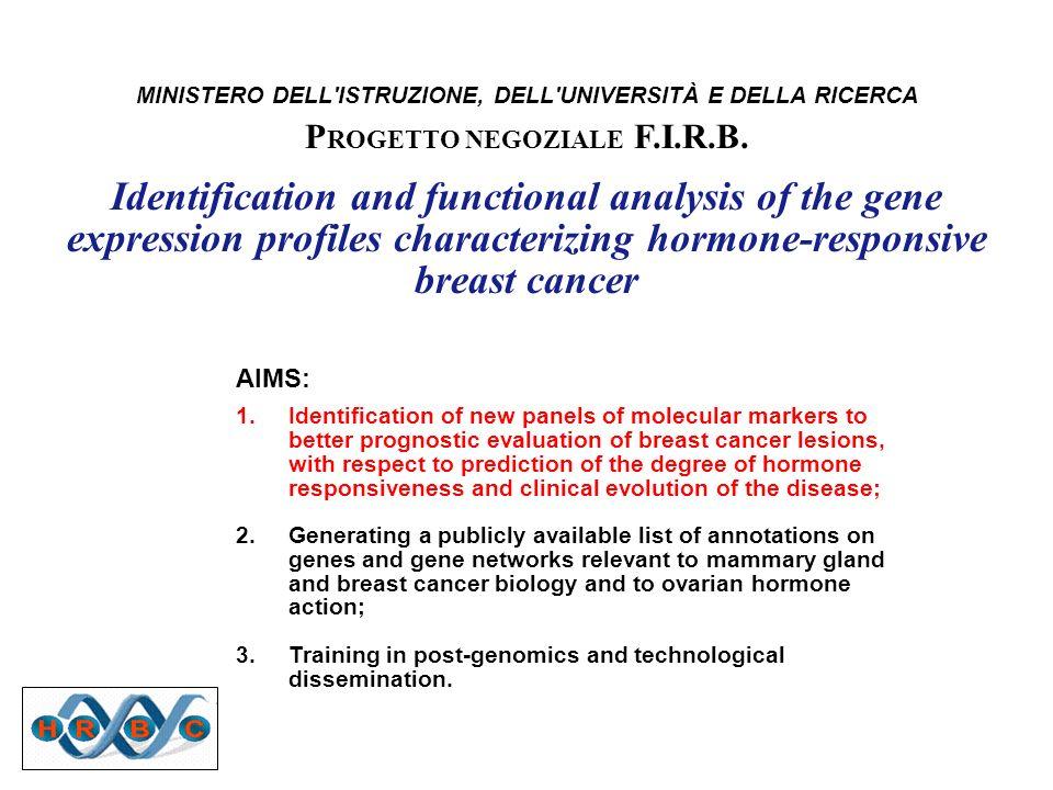 MINISTERO DELL'ISTRUZIONE, DELL'UNIVERSITÀ E DELLA RICERCA P ROGETTO NEGOZIALE F.I.R.B. Identification and functional analysis of the gene expression