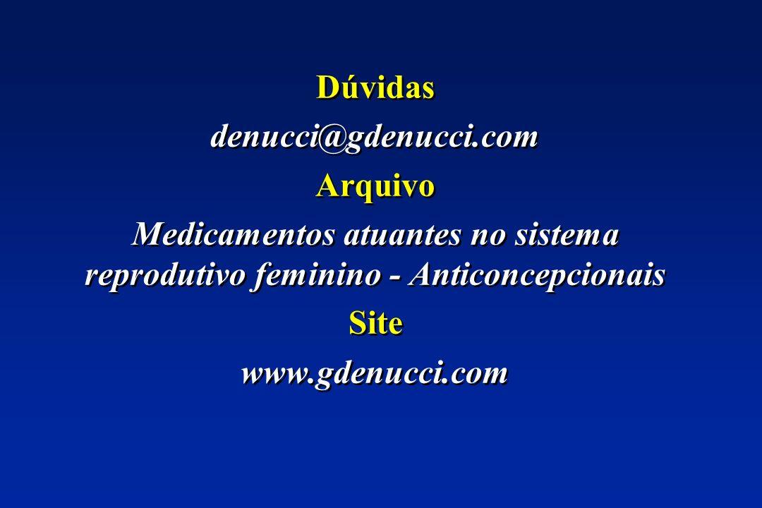Dúvidas denucci@gdenucci.com Arquivo Medicamentos atuantes no sistema reprodutivo feminino - Anticoncepcionais Site www.gdenucci.com Dúvidas denucci@g