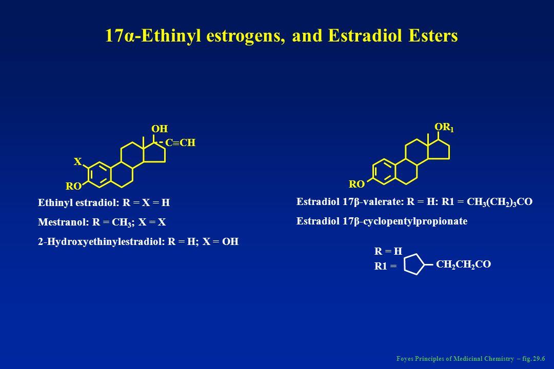 RO X OH C CH RO OR 1 Ethinyl estradiol: R = X = H Mestranol: R = CH 3 ; X = X 2-Hydroxyethinylestradiol: R = H; X = OH Estradiol 17β-valerate: R = H: