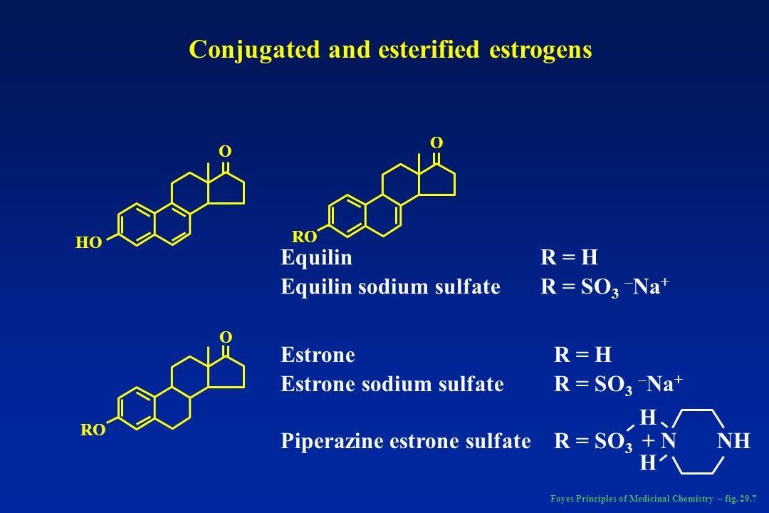 HO O O O RO Equilin Equilin sodium sulfate Estrone Estrone sodium sulfate Piperazine estrone sulfate R = H R = SO 3 – Na + R = H R = SO 3 – Na + R = S
