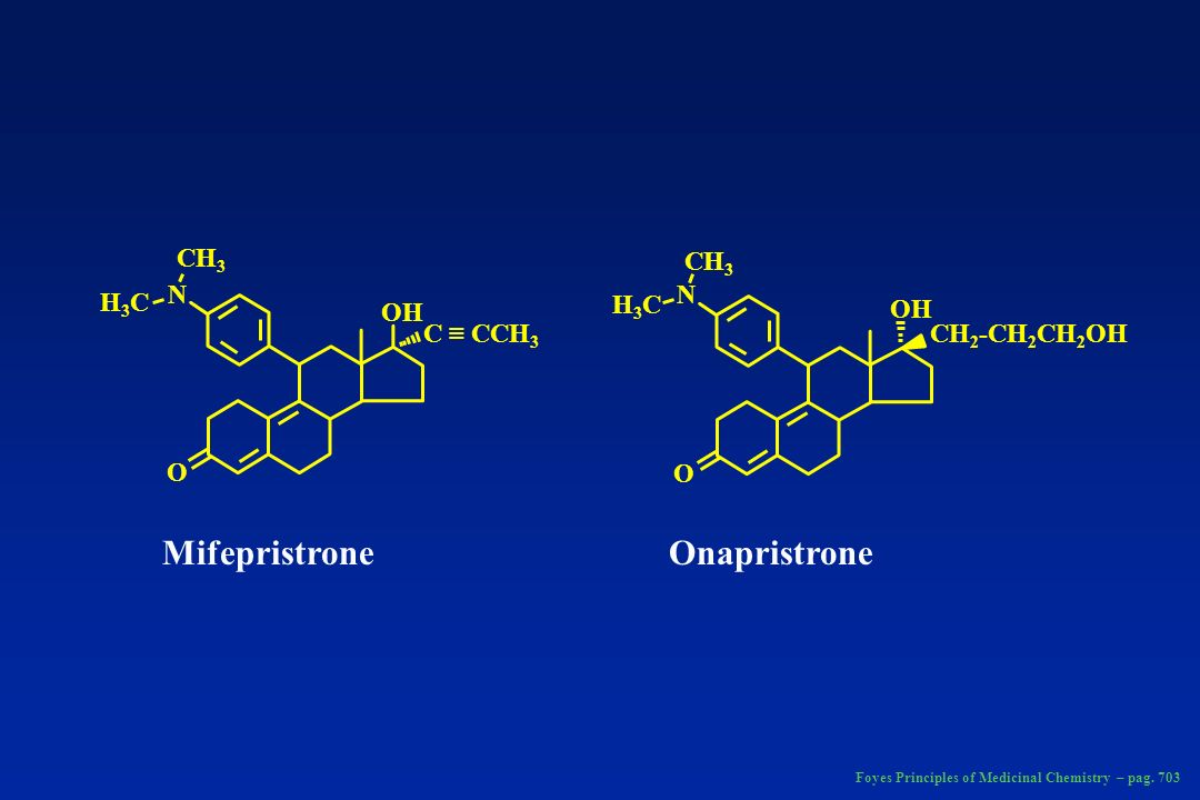 CH 3 H3CH3C N H3CH3C N O O OH CH 2 -CH 2 CH 2 OHC CCH 3 MifepristroneOnapristrone Foyes Principles of Medicinal Chemistry – pag. 703