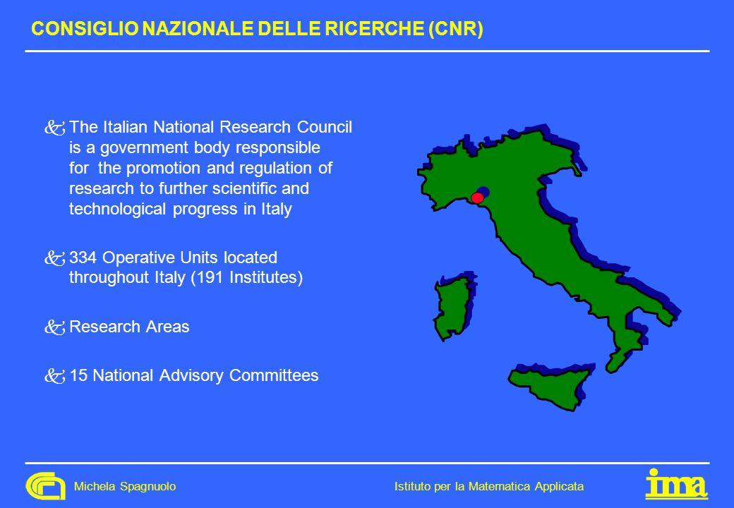 Michela Spagnuolo Istituto per la Matematica Applicata CONSIGLIO NAZIONALE DELLE RICERCHE (CNR) kThe Italian National Research Council is a government