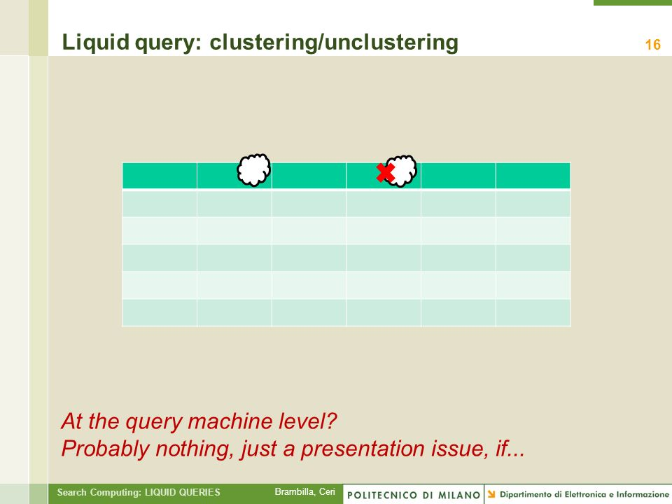 Brambilla, Ceri Search Computing: LIQUID QUERIES Liquid query: clustering/unclustering 16 At the query machine level.