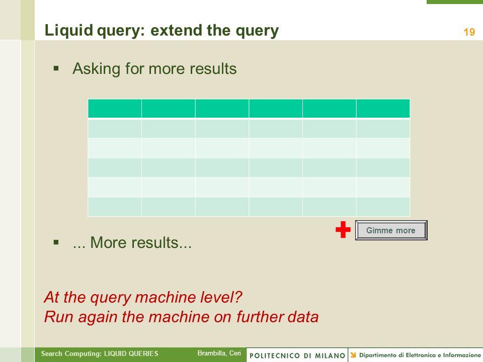 Brambilla, Ceri Search Computing: LIQUID QUERIES Liquid query: extend the query 19 At the query machine level.