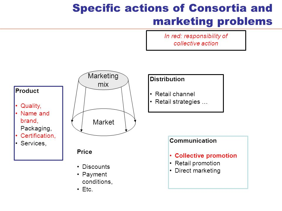 Specific actions of Consortia and marketing problems Marketing mix Market Product Quality, Name and brand, Packaging, Certification, Services, Price Discounts Payment conditions, Etc.