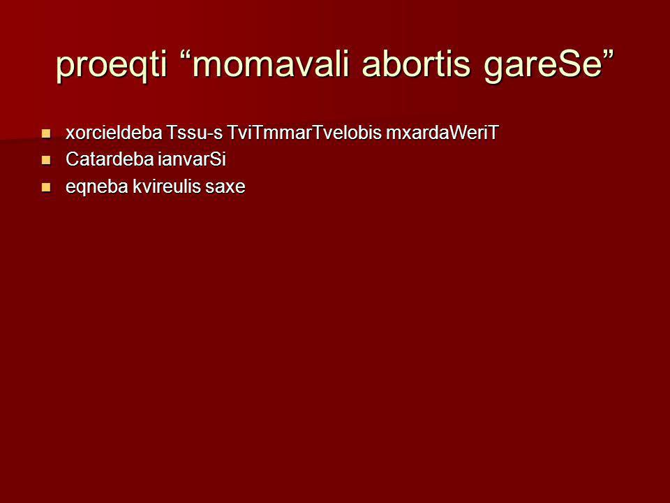 proeqti momavali abortis gareSe xorcieldeba Tssu-s TviTmmarTvelobis mxardaWeriT xorcieldeba Tssu-s TviTmmarTvelobis mxardaWeriT Catardeba ianvarSi Cat