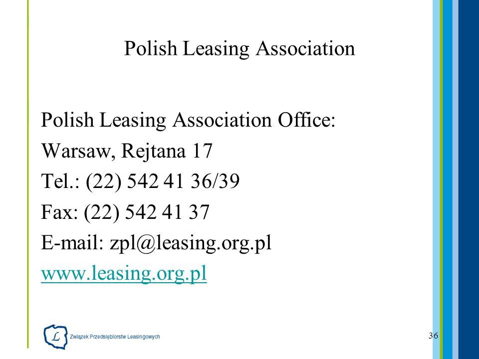 36 Polish Leasing Association Polish Leasing Association Office: Warsaw, Rejtana 17 Tel.: (22) 542 41 36/39 Fax: (22) 542 41 37 E-mail: zpl@leasing.or