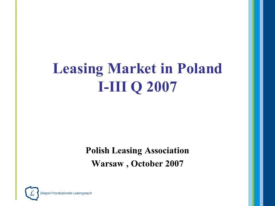 Polish Leasing Association Warsaw, October 2007 Leasing Market in Poland I-III Q 2007