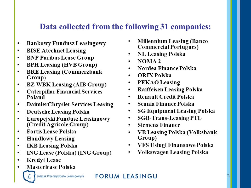 2 Data collected from the following 31 companies: Bankowy Fundusz Leasingowy BISE Atechnet Leasing BNP Paribas Lease Group BPH Leasing (HVB Group) BRE