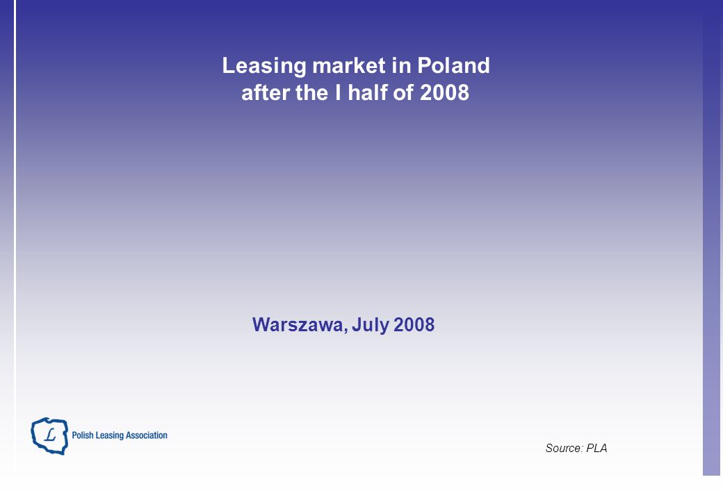 Leasing market in Poland after the I half of 2008 Source: PLA Warszawa, July 2008