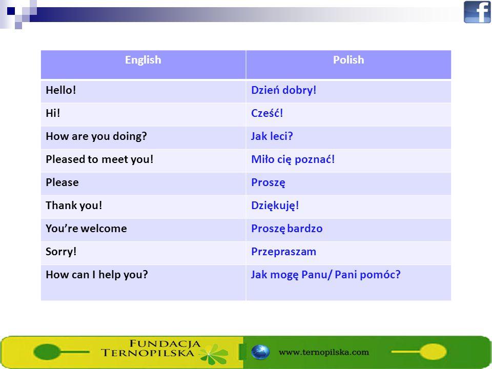 EnglishPolish Hello!Dzień dobry! Hi!Cześć! How are you doing?Jak leci? Pleased to meet you!Miło cię poznać! PleaseProszę Thank you!Dziękuję! Youre wel
