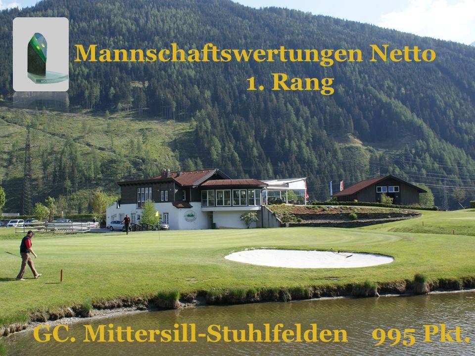 GC. Mittersill-Stuhlfelden 995 Pkt. Mannschaftswertungen Netto 1. Rang