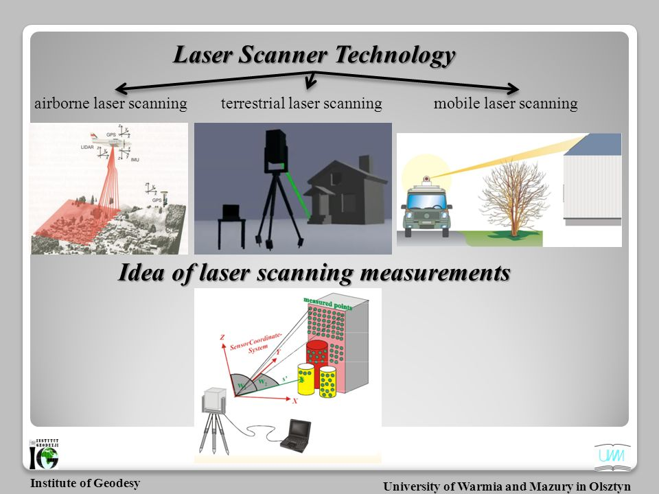 University of Warmia and Mazury in Olsztyn Institute of Geodesy Terrestrial laser scanner provides highly accurate, three-dimensional data in short time; is able to record millions of 3D points; captures complex 3D environments faster than alternative techniques; gives milion of points in the cloud which have X, Y, Z and I (intensity); measurements can be imported into CAD or 3D application software and displayed on a computer monitor as a point cloud.