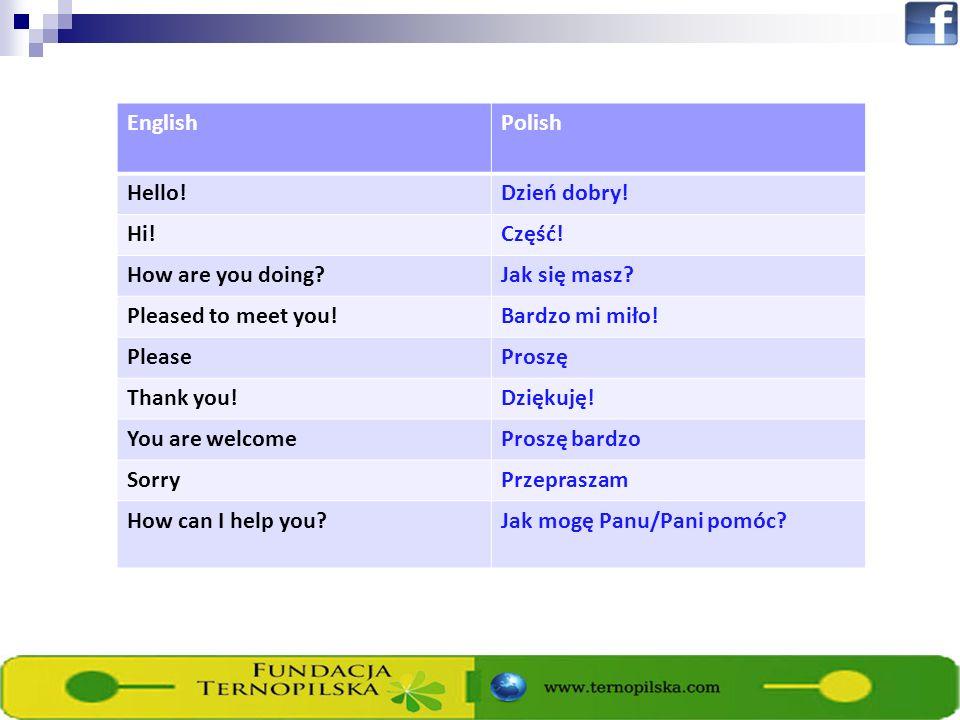 EnglishPolish Hello!Dzień dobry. Hi!Część. How are you doing?Jak się masz.