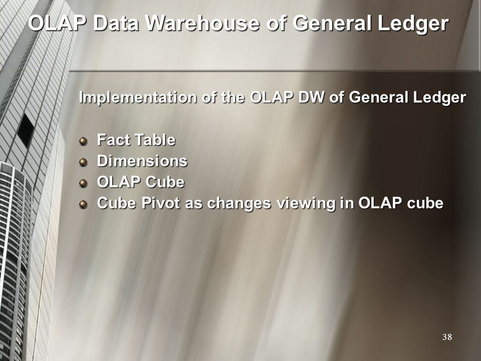 OLAP Data Warehouse of General Ledger Implementation of the OLAP DW of General Ledger Fact Table Dimensions OLAP Cube Cube Pivot as changes viewing in