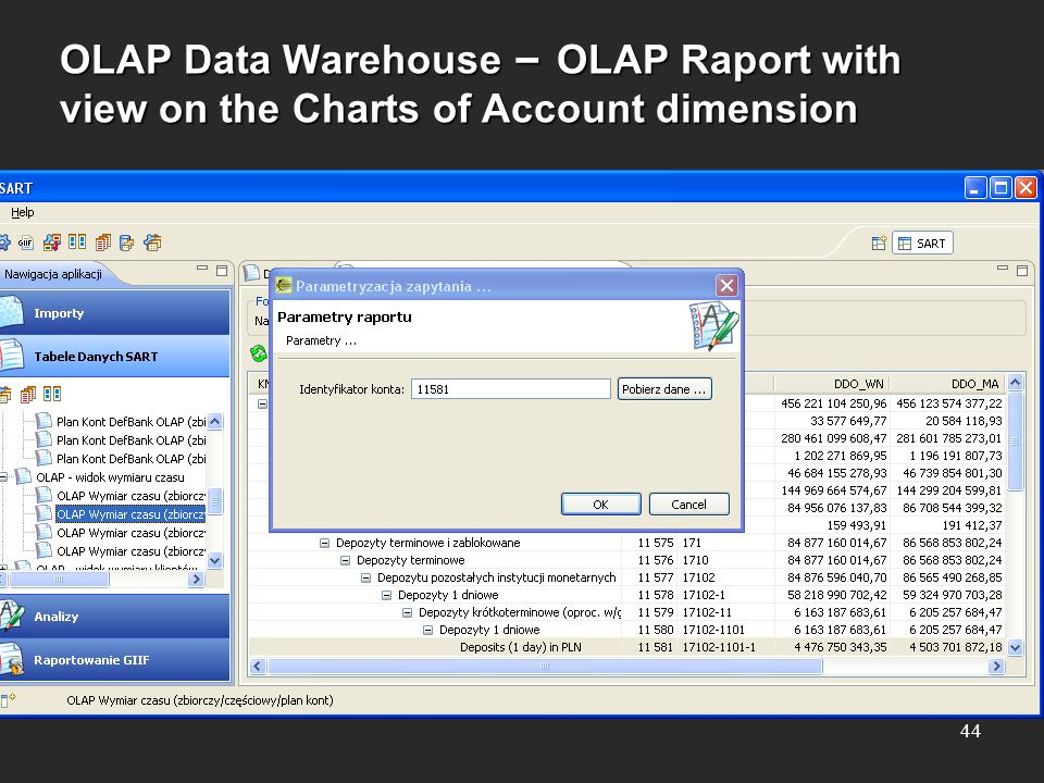 OLAP Data Warehouse – OLAP Raport with view on the Charts of Account dimension 44