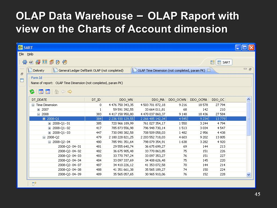 OLAP Data Warehouse – OLAP Raport with view on the Charts of Account dimension 45