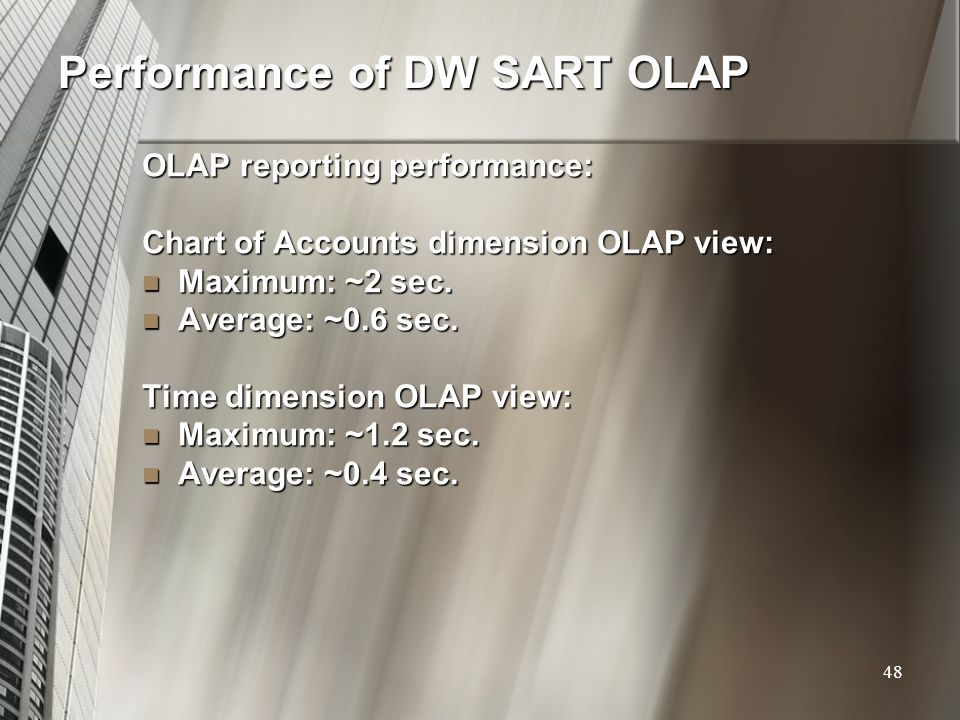 Performance of DW SART OLAP OLAP reporting performance: Chart of Accounts dimension OLAP view: Maximum: ~2 sec. Maximum: ~2 sec. Average: ~0.6 sec. Av