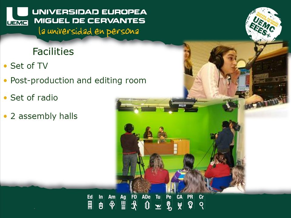 Set of TV Post-production and editing room Set of radio Facilities 2 assembly halls