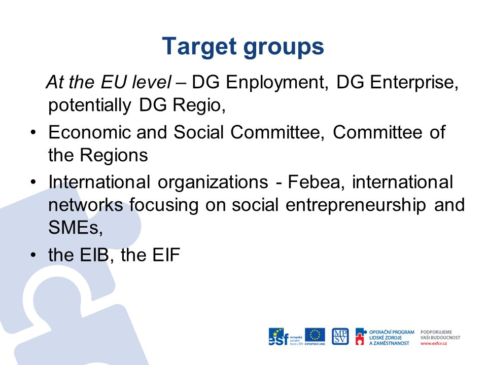 Target groups At the EU level – DG Enployment, DG Enterprise, potentially DG Regio, Economic and Social Committee, Committee of the Regions Internatio
