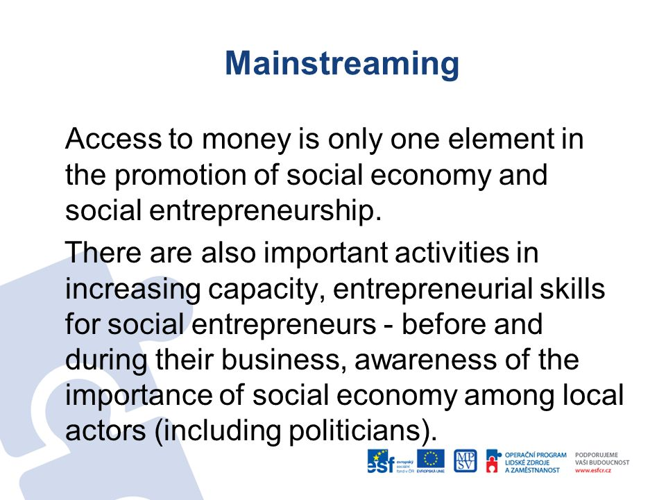 Mainstreaming Access to money is only one element in the promotion of social economy and social entrepreneurship. There are also important activities