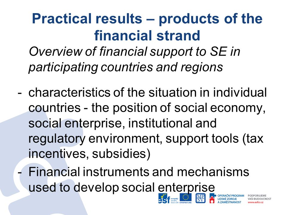 Practical results – products of the financial strand Overview of financial support to SE in participating countries and regions -characteristics of th