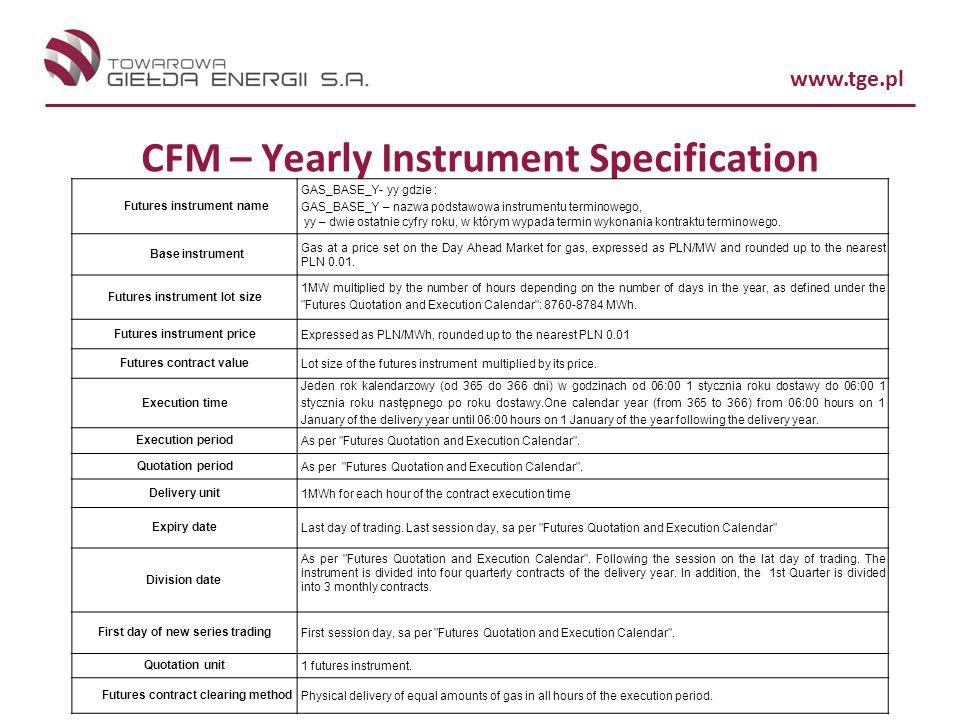 www.tge.pl CFM – Yearly Instrument Specification Futures instrument name GAS_BASE_Y- yy gdzie : GAS_BASE_Y – nazwa podstawowa instrumentu terminowego, yy – dwie ostatnie cyfry roku, w którym wypada termin wykonania kontraktu terminowego.