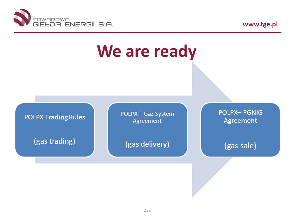 www.tge.pl We are ready POLPX Trading Rules (gas trading) POLPX – Gaz System Agreement (gas delivery) POLPX– PGNIG Agreement (gas sale) 4/4