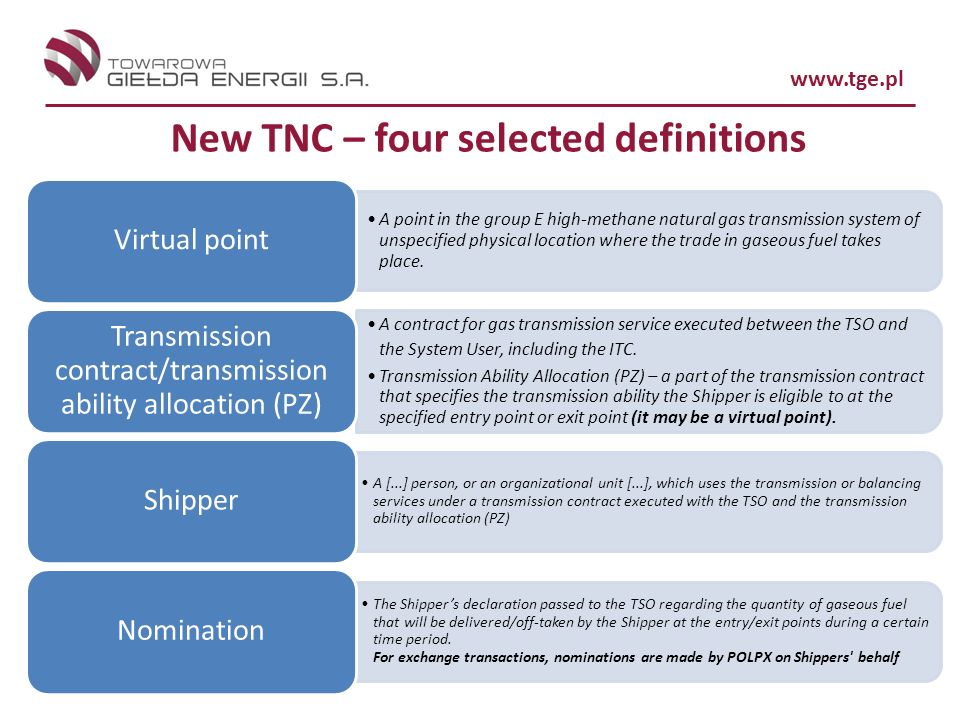 www.tge.pl New TNC – four selected definitions A point in the group E high-methane natural gas transmission system of unspecified physical location where the trade in gaseous fuel takes place.