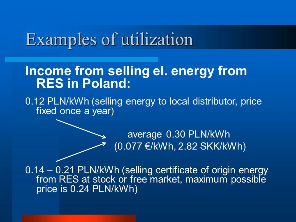 Examples of utilization Income from selling el.