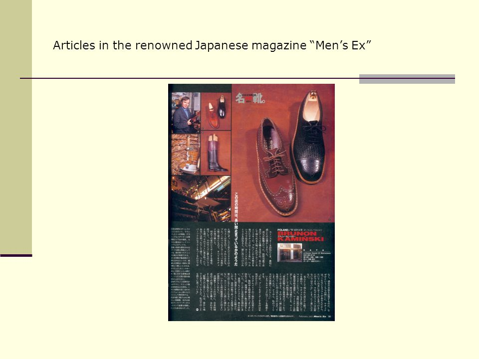 Articles in the renowned Japanese magazine Mens Ex