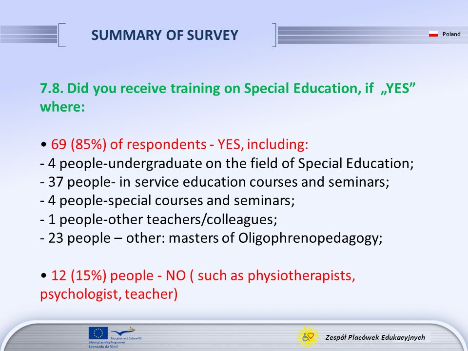 SUMMARY OF SURVEY Zespół Placówek Edukacyjnych Poland 7.8. Did you receive training on Special Education, if YES where: 69 (85%) of respondents - YES,