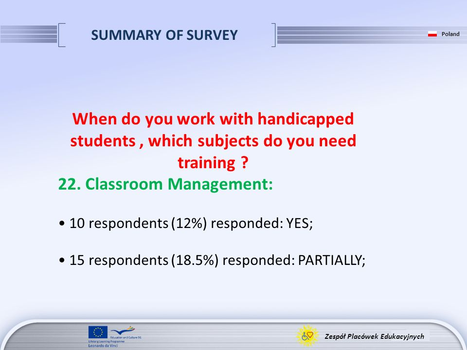 SUMMARY OF SURVEY Zespół Placówek Edukacyjnych Poland When do you work with handicapped students, which subjects do you need training ? 22. Classroom