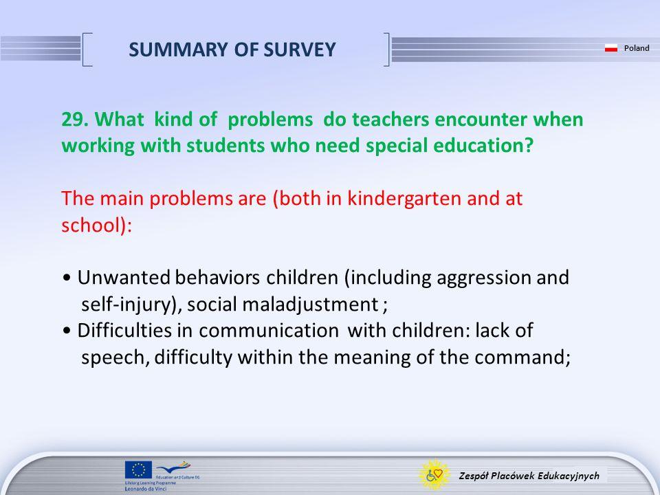 SUMMARY OF SURVEY Zespół Placówek Edukacyjnych Poland 29. What kind of problems do teachers encounter when working with students who need special educ