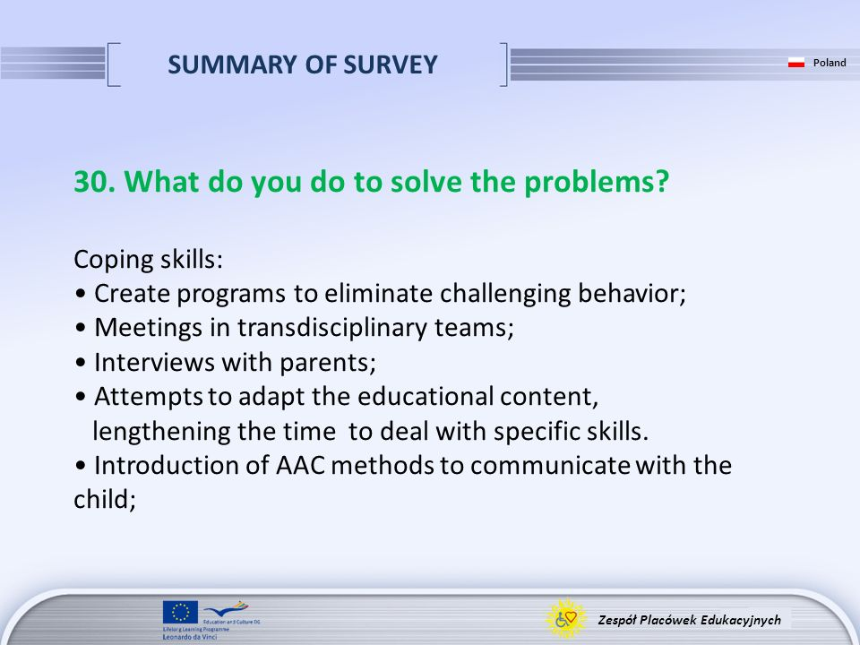 SUMMARY OF SURVEY Zespół Placówek Edukacyjnych Poland 30. What do you do to solve the problems? Coping skills: Create programs to eliminate challengin