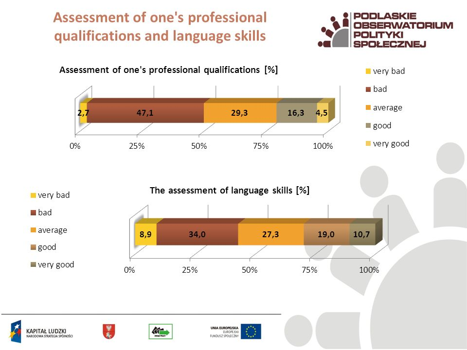 Assessment of one's professional qualifications and language skills