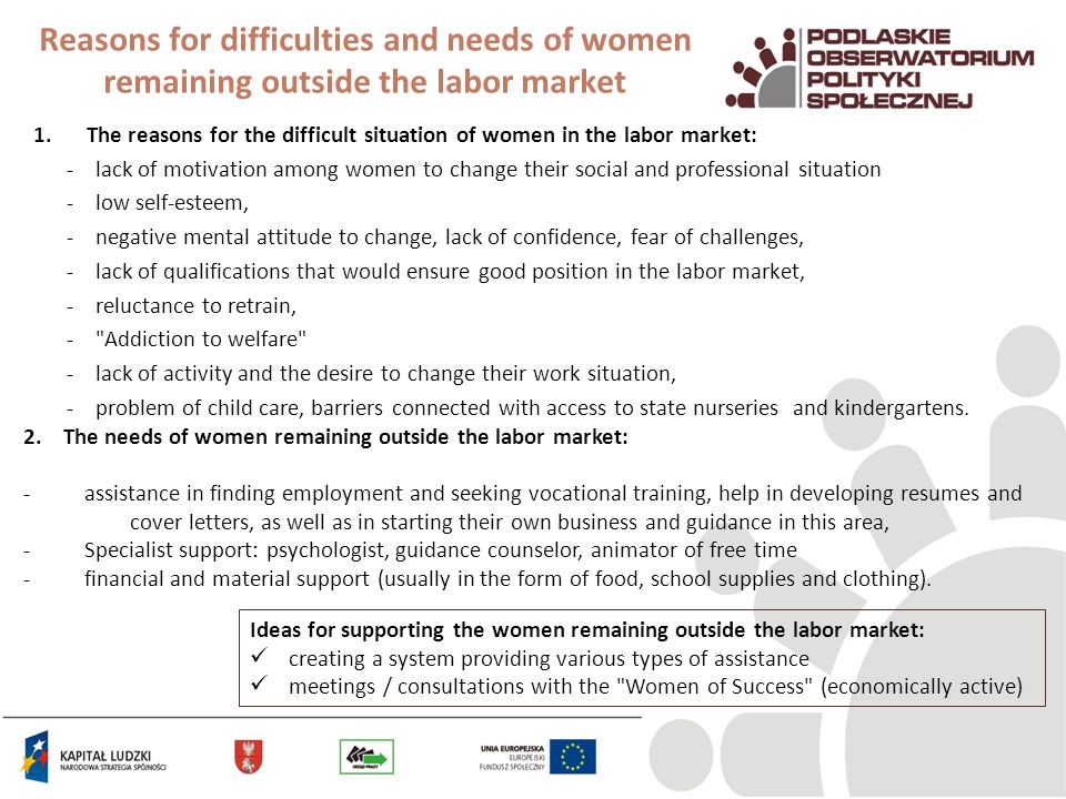 Reasons for difficulties and needs of women remaining outside the labor market 1.The reasons for the difficult situation of women in the labor market: - lack of motivation among women to change their social and professional situation - low self-esteem, - negative mental attitude to change, lack of confidence, fear of challenges, - lack of qualifications that would ensure good position in the labor market, - reluctance to retrain, - Addiction to welfare - lack of activity and the desire to change their work situation, - problem of child care, barriers connected with access to state nurseries and kindergartens.