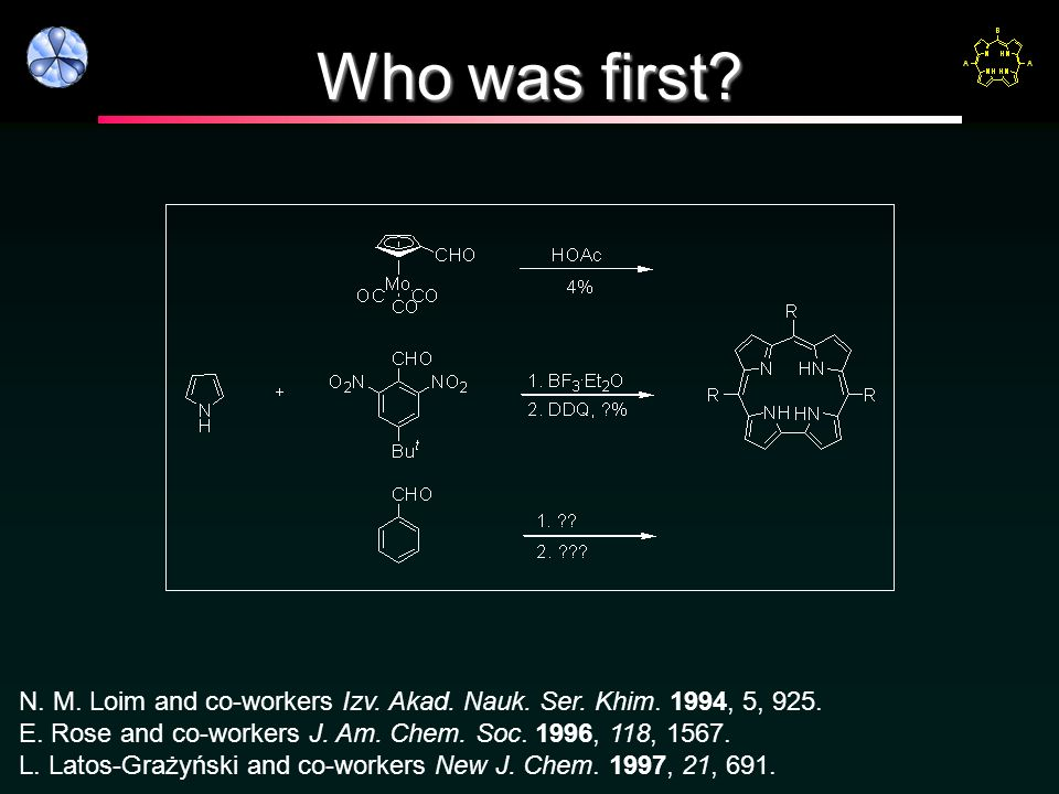 Who was first? N. M. Loim and co-workers Izv. Akad. Nauk. Ser. Khim. 1994, 5, 925. E. Rose and co-workers J. Am. Chem. Soc. 1996, 118, 1567. L. Latos-